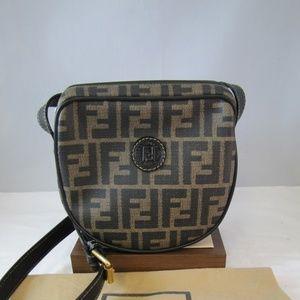 Vintage FENDI Zucca Canvas & Leather Crossbody